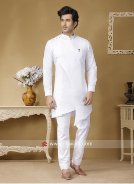 Stylish White Color Pathani Set