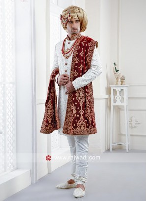Stylish White Color Wedding Indo Western