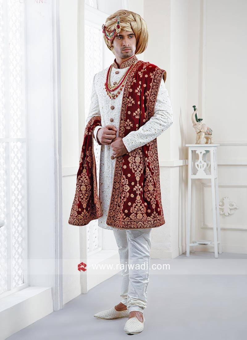 Stylish White Color Wedding Indo Western