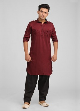 Stylish Wine And Black Color Pathani Suit