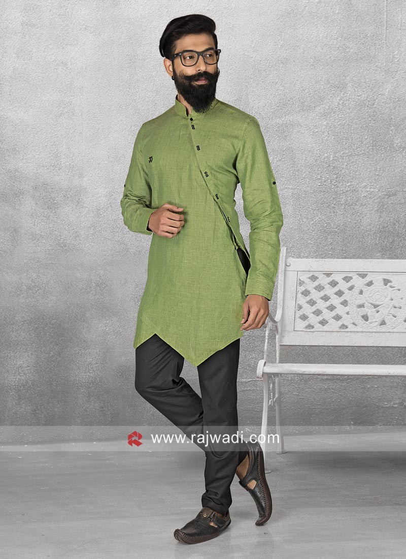 Stylish Green Color Pathani Set