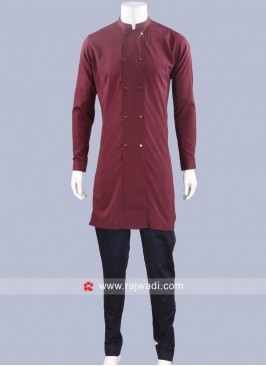 Stylish Wine Color Pathani Set