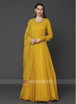 Stylish Yellow Color Anarkali Suit With Dupatta
