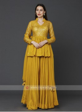Stylish Yellow Color Gharara Suit