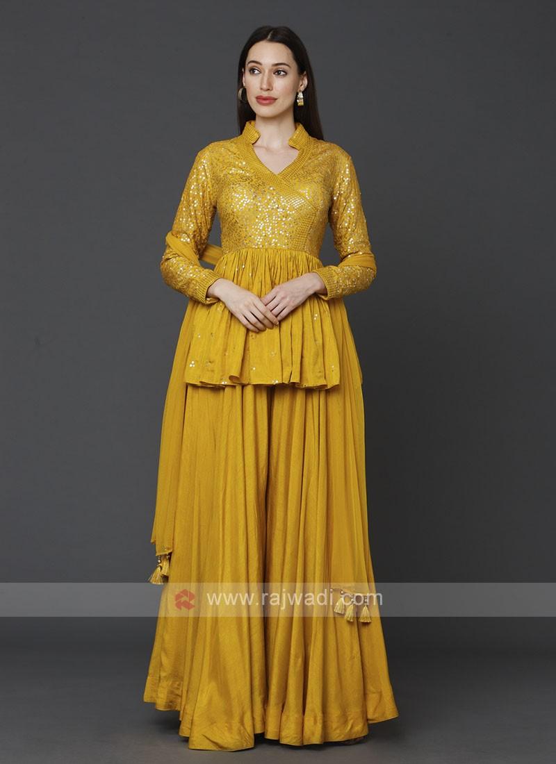 Stylish Yellow Color Gharara Suit