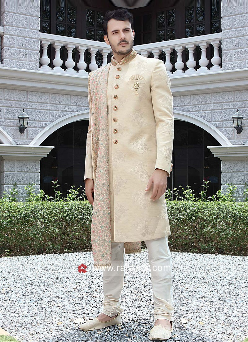 Stylish Cream Color Sherwani With Designer Dupatta