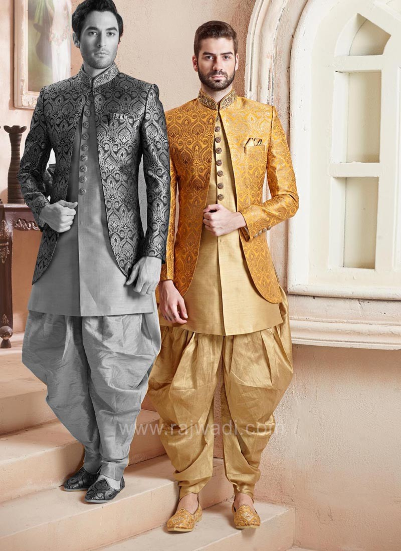 Stylish Yellow Color Koti With Kurta and Bottom