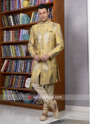 Stylish Yellow Indo Western For Wedding