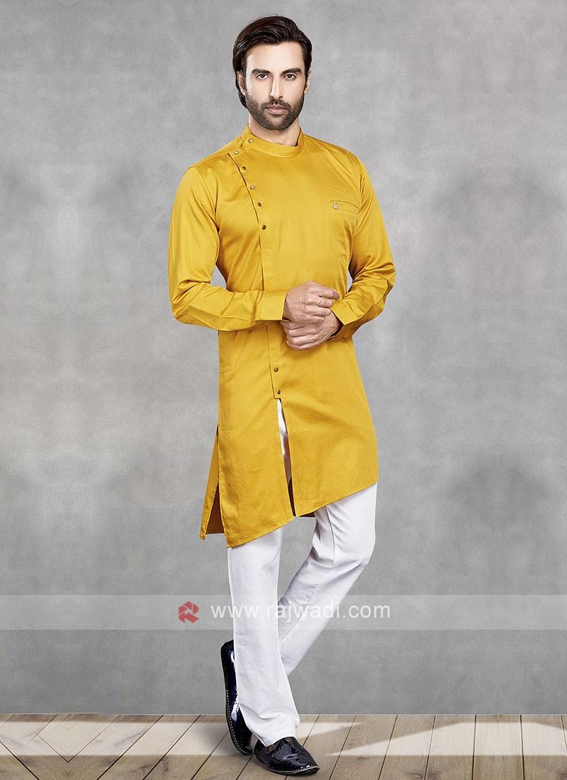 Stylish Yellow & White Kurta Pajama