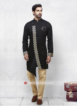 Stylish Black Color Pathani Set