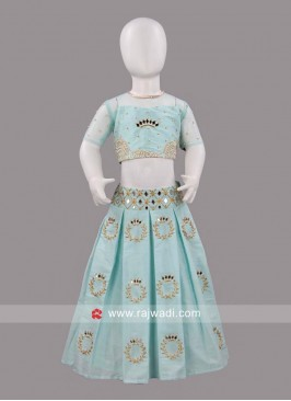 Sugar Candy Blue Mirror Work Lehenga Set