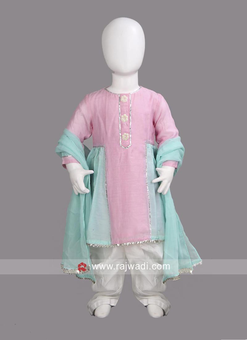 Sugar Candy Cotton Silk Kurta with White Dhoti