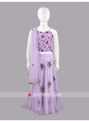 Sugar Candy Girls Purple Net Lehenga Choli