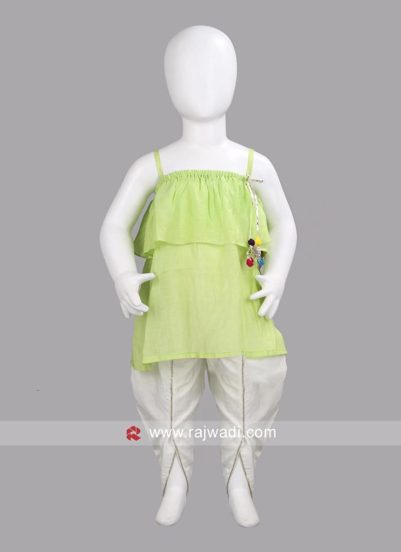 Sugar Candy Green Top with White Tulip Salwar