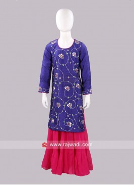 Sugar Candy Kids Blue Embroidered Kurta with Palazzo