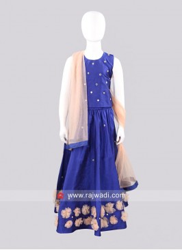 Sugar Candy Kids Lehenga Set in Dark Blue