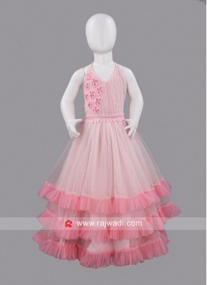 Sugar Candy Light Pink Layered Gown for Girls