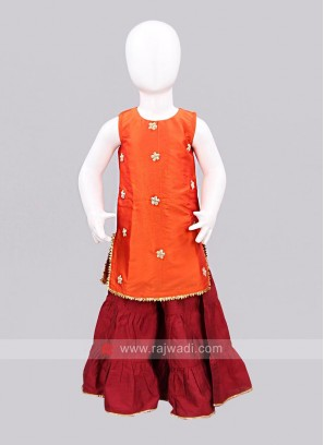 Sugar Candy Orange Kurta with Contrast Palazzo