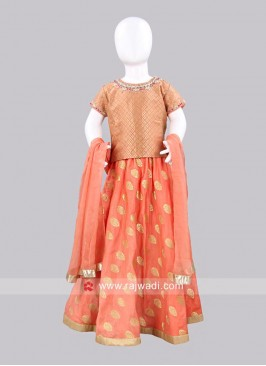 Sugar Candy Peach Chanderi Lehenga Choli for Kids