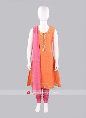Sugar Candy Peach Girls Chanderi Salwar Suit