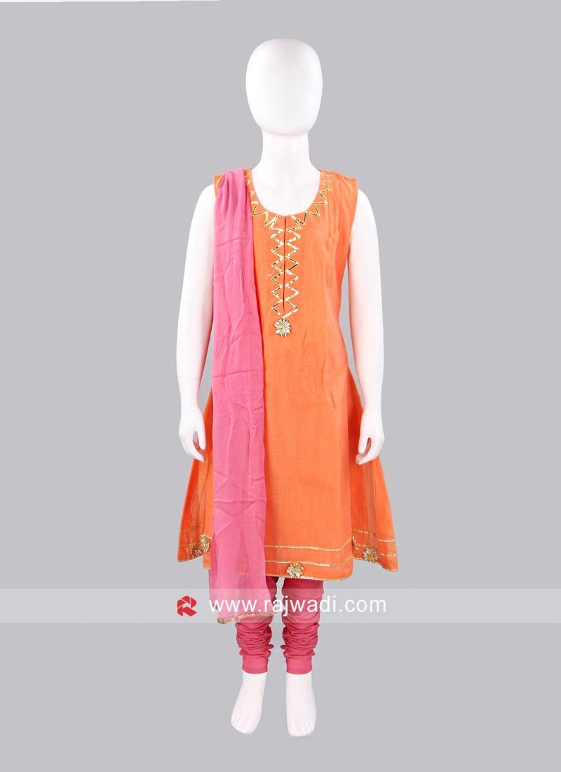 Sugar Candy Peach Girls Chanderi Salwar Suit