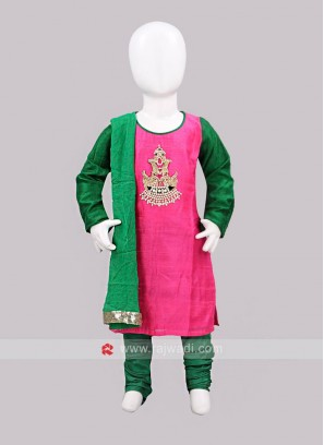 Sugar Candy Pink and Green Girls Churidar Suit