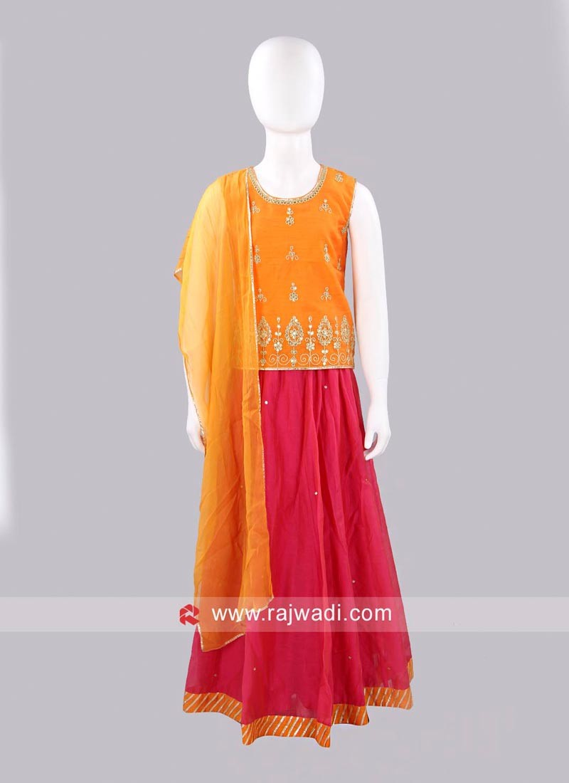 Sugar Candy Pink and Orange Kids Lehenga Set