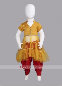 Sugar Candy Readymade Golden Yellow Dhoti Set