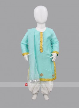 Sugar Candy Sea Green Kids Patiala Set