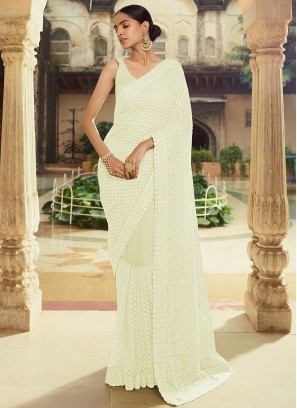 Sumptuous Off White Sangeet Classic Designer Saree
