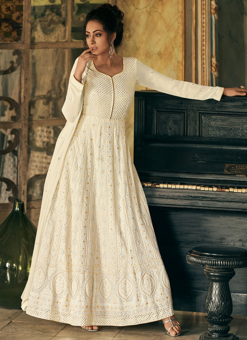 Swanky Off White Fancy Faux Georgette Floor Length Anarkali Suit
