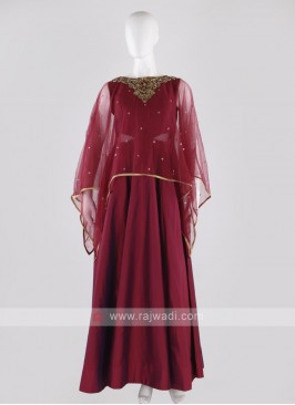 tafeta silk anarkali suit in crimson color