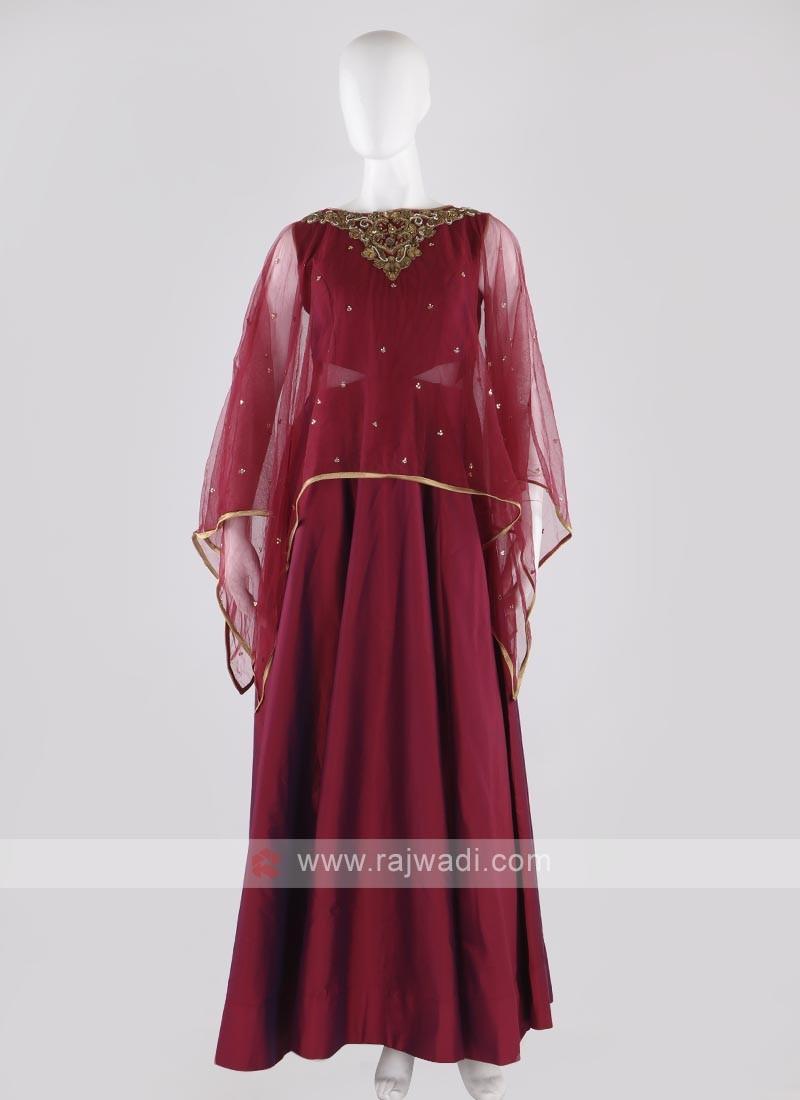 tafeta silk anarkali suit in crimson color