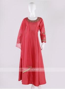 tafeta silk anarkali suit in gajari pink