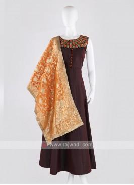 tafeta silk anarkali suit in magenta color