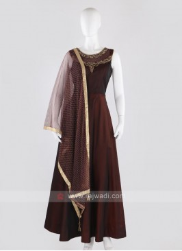 Tafeta silk anarkali suit in wine color
