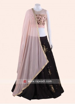Taffeta and Satin Embroidered Lehenga Set