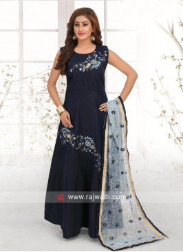 Taffeta Silk Anarkali Dress in Blue