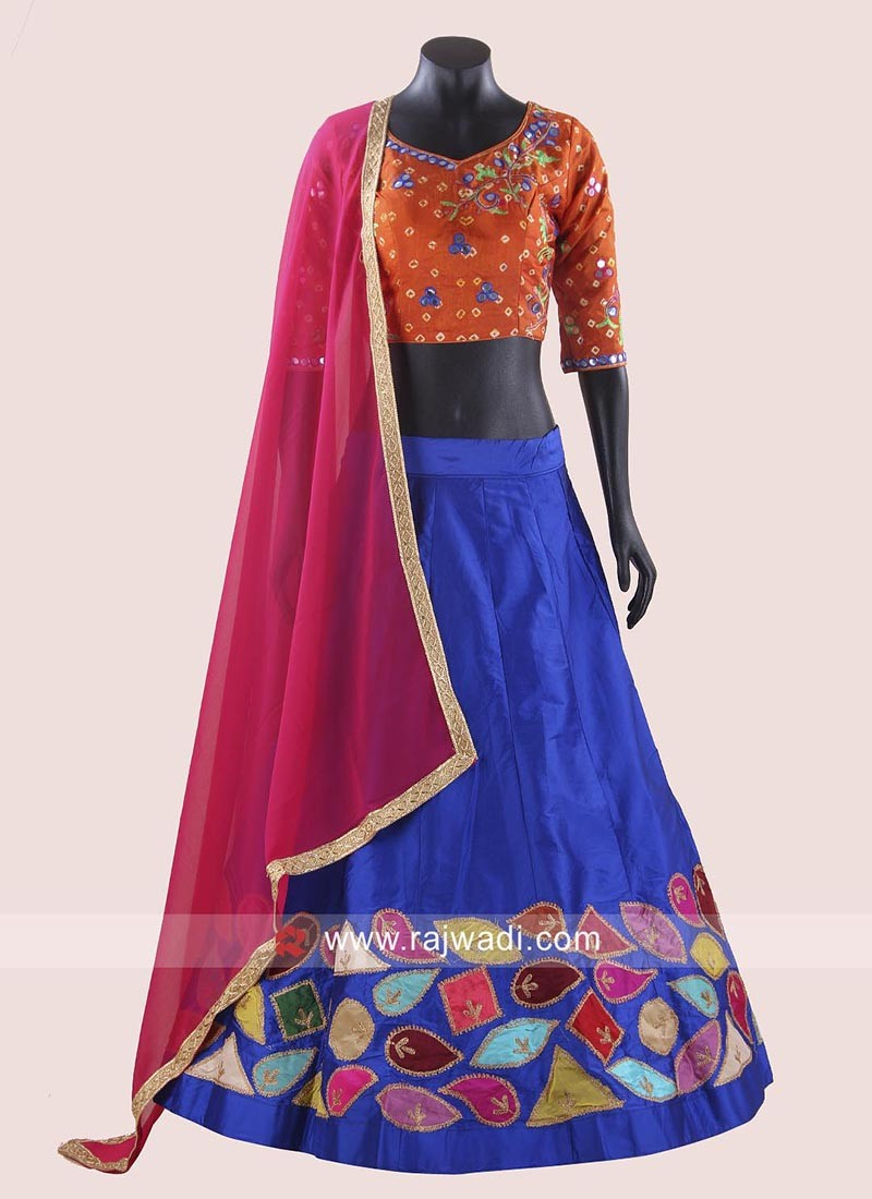 Taffeta Silk Chaniya Choli with Contrast Dupatta