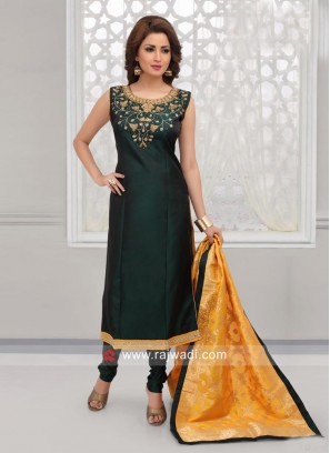 Taffeta Silk Churidar Suit in Bottle Green
