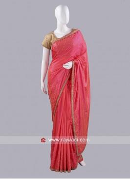 Taffeta Silk Diamond Work Saree