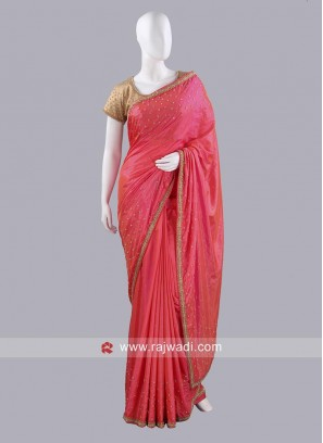 Taffeta Silk Diamond Work Saree