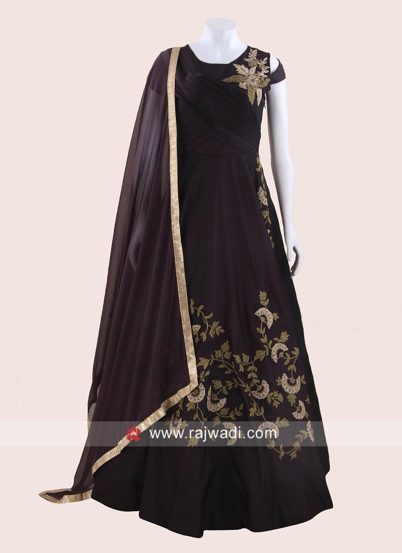 Taffeta Silk Embroidered Anarkali in Purple