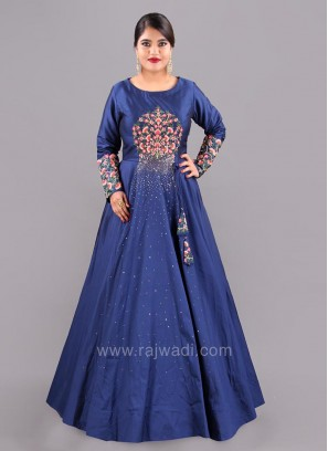 Taffeta Silk Flared Embroidered Gown with Dupatta