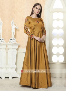 Taffeta Silk Floor Length Gown for Eid