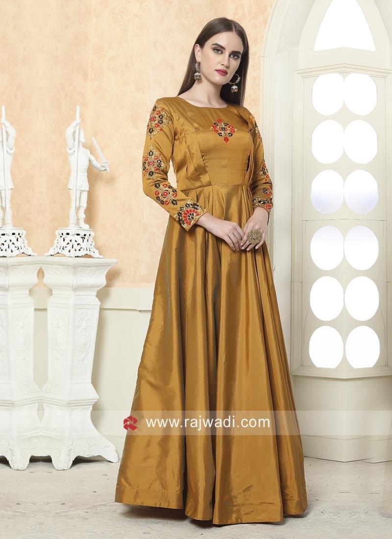 Taffeta Silk Floor Length Gown for Eid