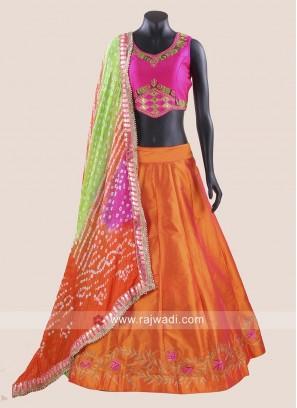 Taffeta Silk Kutchi Work Chaniya Choli