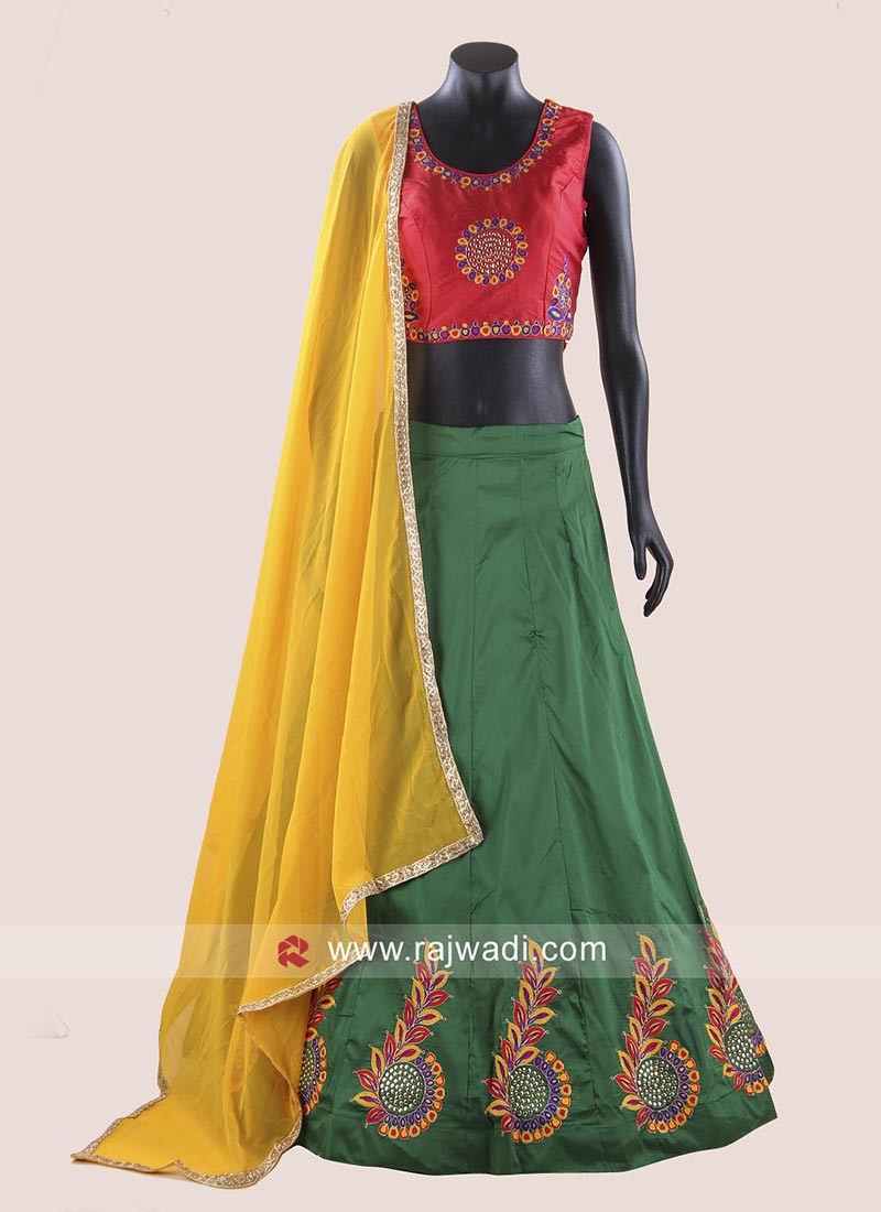 Taffeta Silk Kutchi Work Chaniya Choli