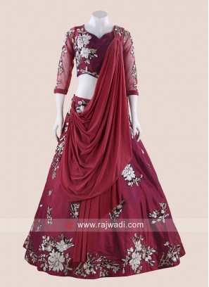 Taffeta Silk Lehenga Choli with Attached Dupatta