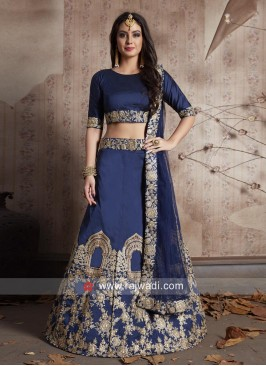 Taffeta Silk Lehenga in Navy Blue